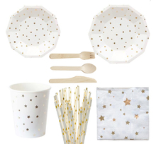 Serves 8 gold star design wedding birthday disposable party tableware dinnerware party supplies set paper plates cups straws celebrate party gold foil disposable tableware set paper plates cups napkins straws adult birthday party decor wedding party sup