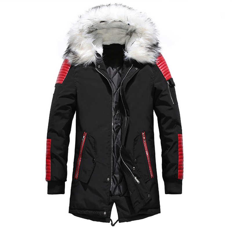 プラスベルベット男性毛皮の襟のコートの冬のストリート厚いメンズジャケット暖かいフード付きメンズパーカージャケット PU パッチワーク生き抜くパーカー