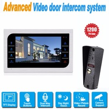 7 inch LCD Color Video Door Phone Intercom System Home Apartment Wireless Doorbell Doorphone Night Version IP65 Waterproof F1395