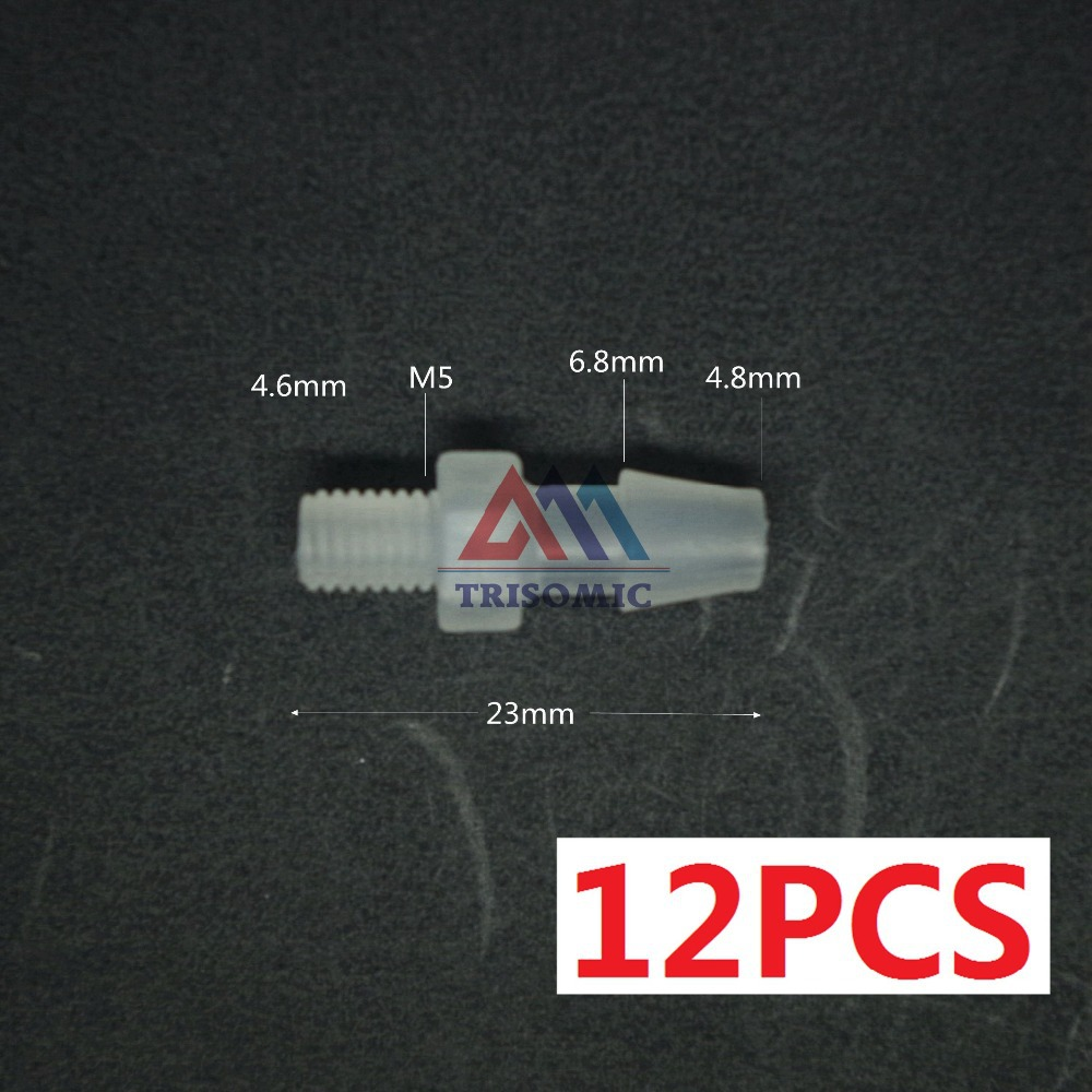 12 Pieces 4.8mm-M5 Straight Connector Plastic Pipe Fitting Barbed Connector With Thread Material PP Tank Airline Aquarium