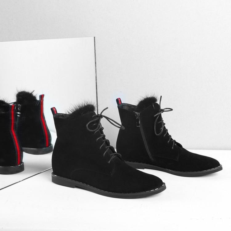 Fourrure Pour Caoutchouc Femmes Bout Avec Rond Suédé Femme Bottes Mujer En Liée Zapatos Croix Talon Plat Chaussures La Cheville Noir De D'hiver 4zxtTfqz