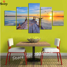 Hot Sell 5 Panel Modern seascape Pictures Decor Wall Art Ocean Sunset Painting Canvas Prints Unframed F1713 New Arrivals