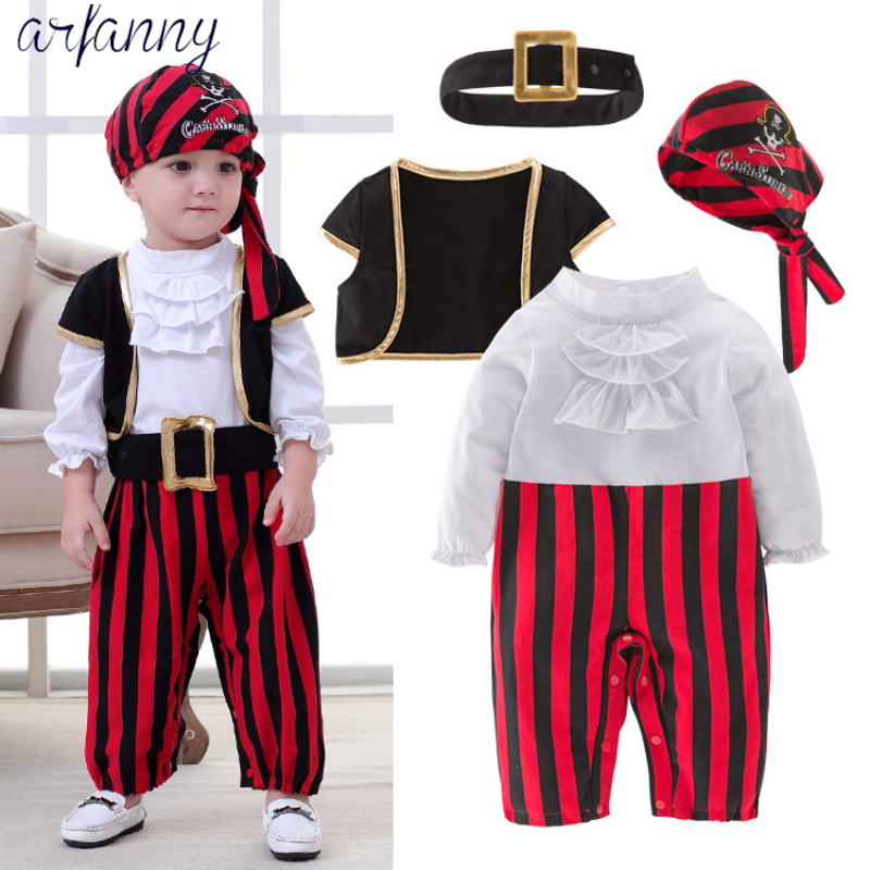 ARFANNYBaby Boys Clothes Lovely New Baby Pirate Captain Halloween Boy Set Childrens Costume Dance Cosplay Young children 4suits