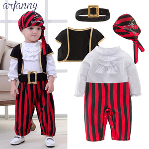 Baby Boys Clothes Lovely New Baby Pirate Captain Halloween Boy Set Children's Costume Dance Cosplay Young children4 pieces suits(China)