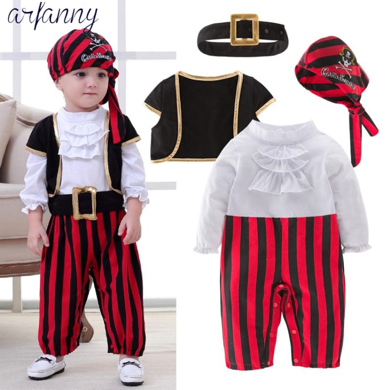 Ropa de los muchachos del bebé precioso bebé capitán pirata de niño traje de niños baile Cosplay joven children4 piezas trajes