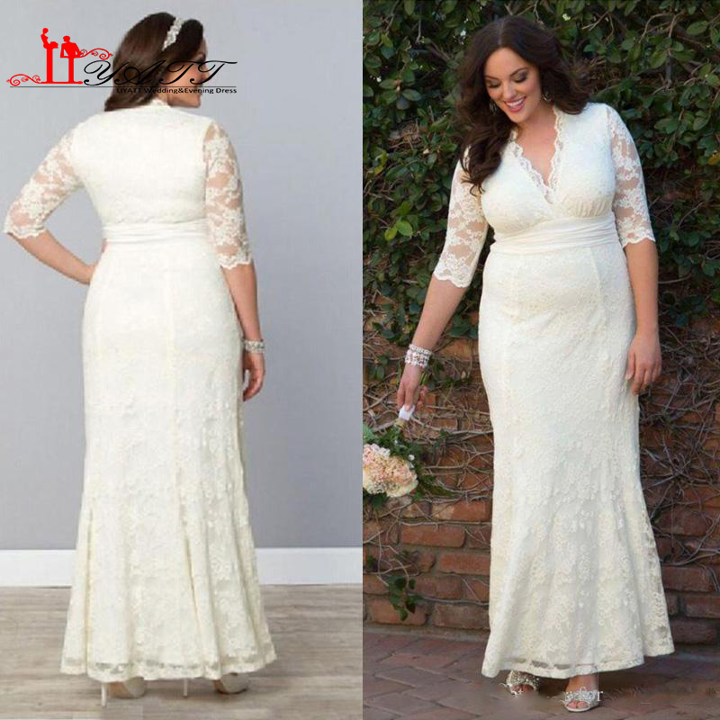 Modest Plus Size Lace Wedding Dresses Sheath Column Vintage Bridal Gowns With Illusion Sleeves V Neck Ankle Length 2017 Summer In From
