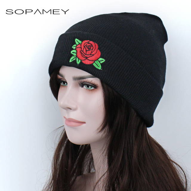 Winter Beanie Hats New Rose Flower Embroidered Caps Beanies Lovers Men  Women Black Hat Elastic Acrylic