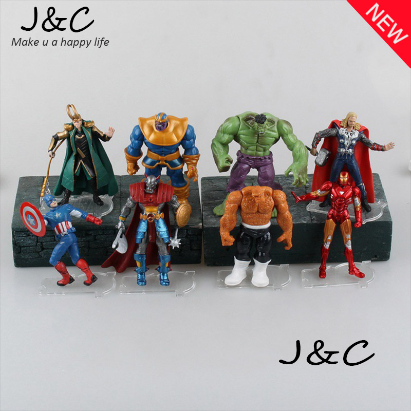 8pcs/set The Avengers Superheroes PVC Action Figures Toys Hulk Loki Thor Captain America Iron Man The Thing Figure Toy 12cm