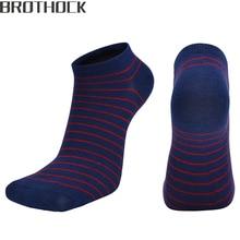 Brothock short boat socks men cotton elasticity processing custom one generation low sport running striped