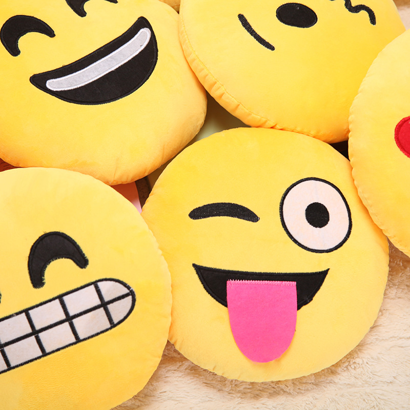 30*30cm New 8 kinds Cute Funny Emoticons Yellow Cartoon Face QQ expression Face Pillow Plush Toys Sofa Cushion
