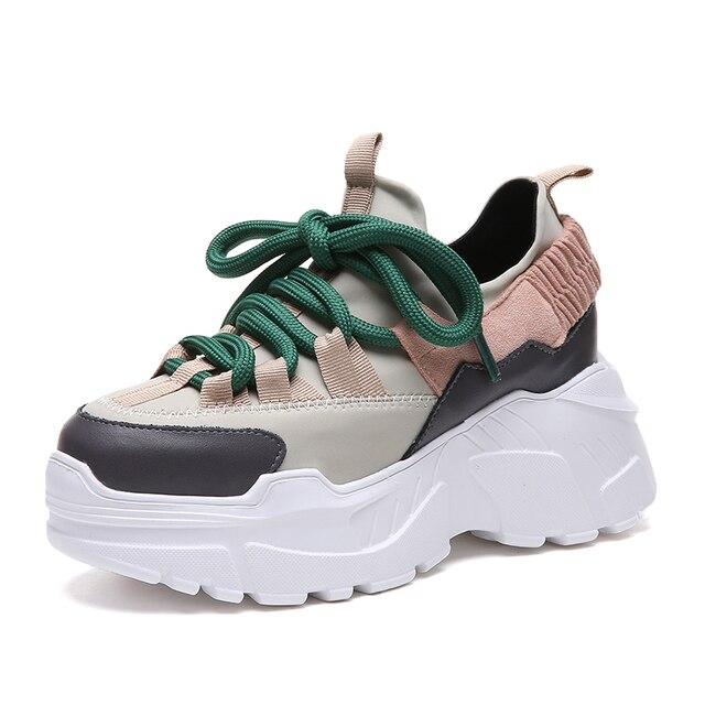 Nền Tảng mới Sneakers Nữ Thời Trang Đế Dày Chạy Bộ Tăng Chiều Cao 8 CM Chun Bụng Thể Thao Người Phụ Nữ Chaussures Femme