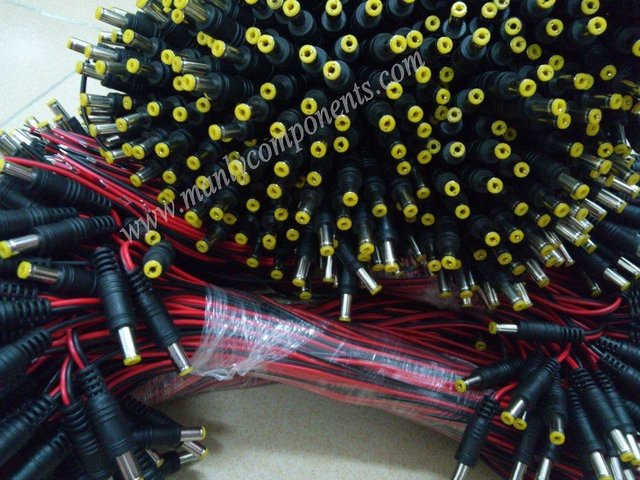 Wholesale 500Pair (1000pcs)  Male and Female DC Plug 12V DC Pigtail Cable 14*0.14mm Copper Cord for CCTV or LED