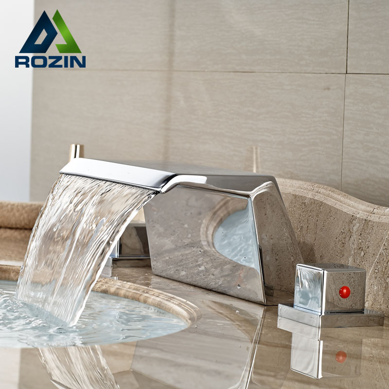 ФОТО Brand New Widespread 3 Hole Bathroom Basin Faucet Deck Mount 2 Handle Basin Mixer Taps