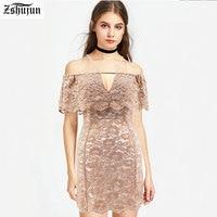 Wholesale Spot Female Sexy Dresses One Word Collar Lotus Leaf Side Slim Mini Dress Harness Lace