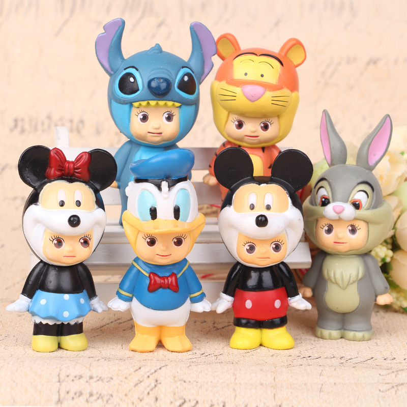 2016 Hot 8cm Sonny Angel Mickey Mouse Toys 6 Pcs Set Action Figure Cool Christmas