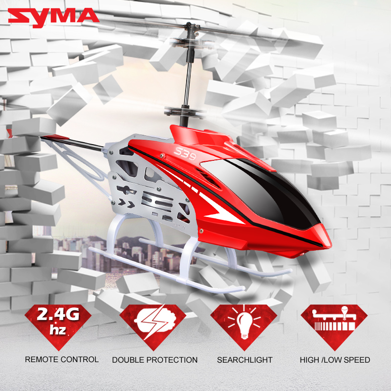 100 Original Syma S39 2 4G 3CH RC Helicopter with Gyro LED Lights Aluminum Anti Shock