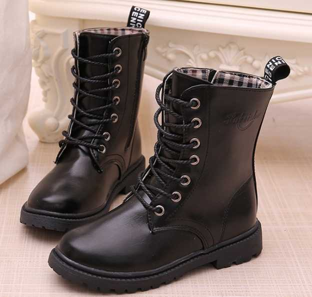 Pu waterproof Boys and Girls leather shoes spring and autumn 2019 winter new knight single boots baby big children snow boots