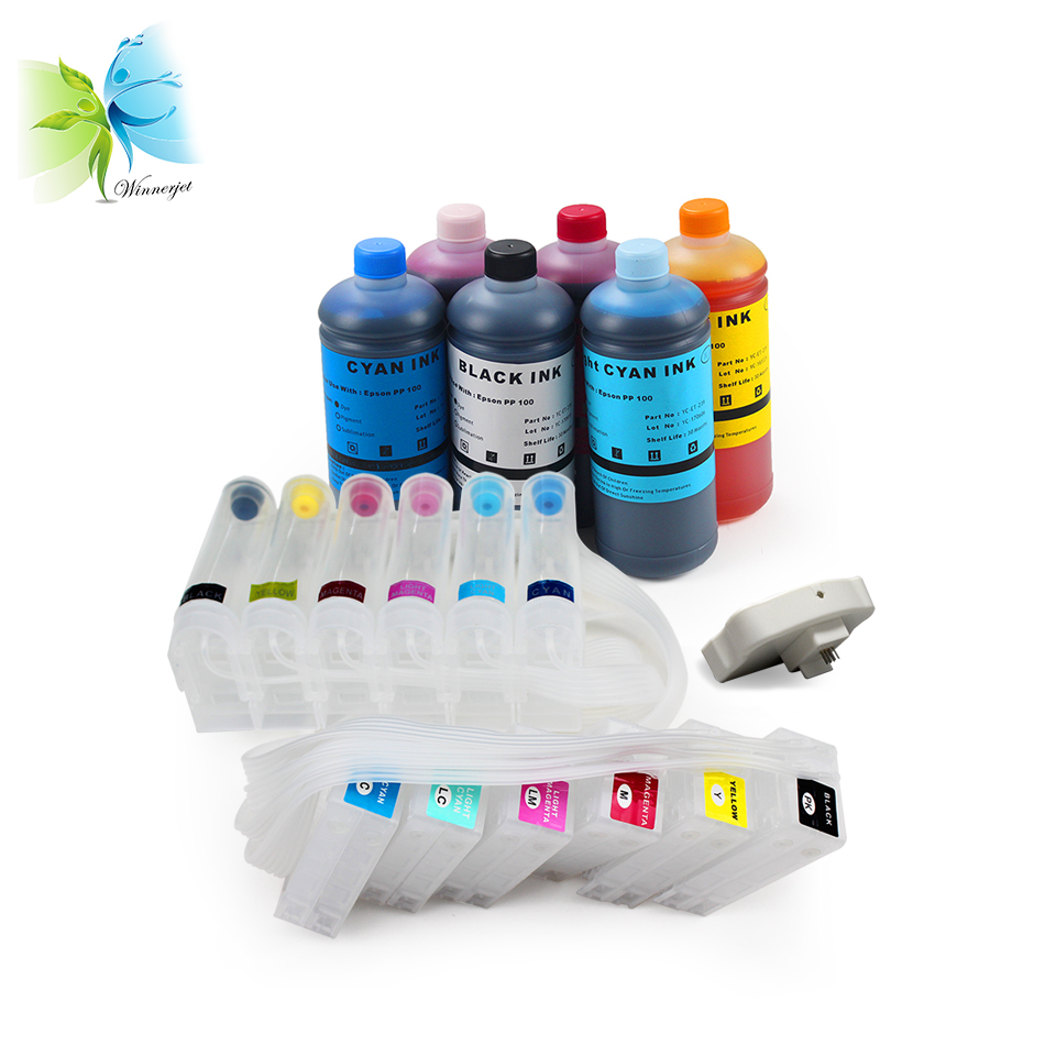 WINNERJET 1set CISS 1pc Chip Resetter 6 liters Dye Ink For Epson PP100 Printer in Continuous Ink Supply System from Computer Office