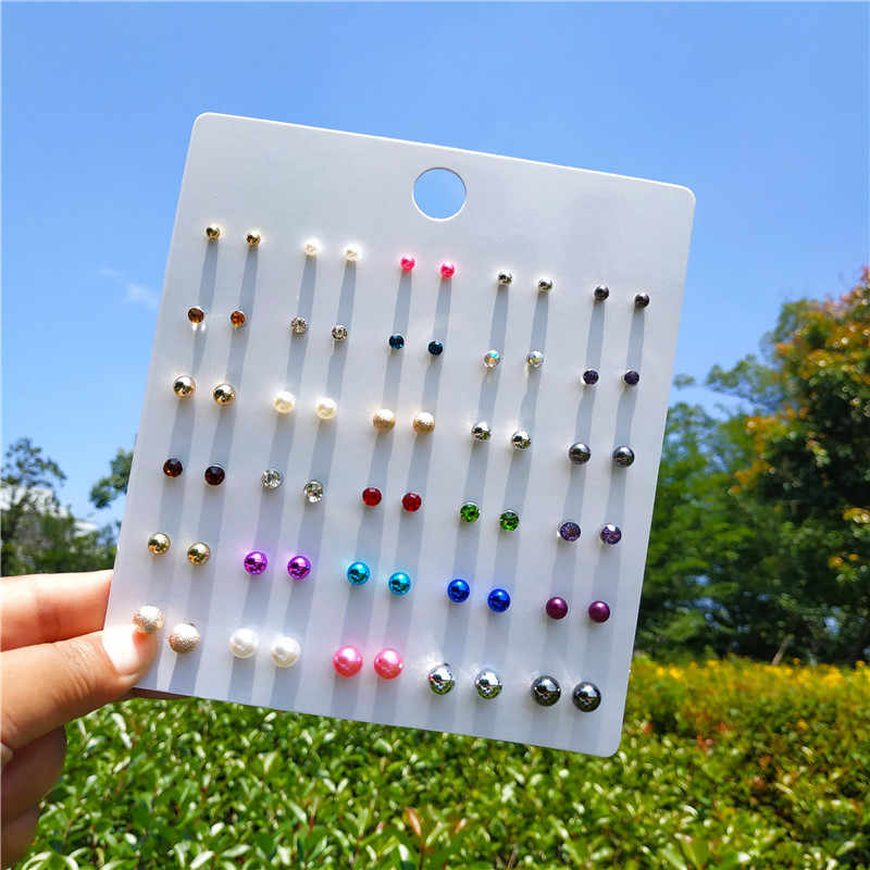30 Pairs/lot Pearl Stud Earring Set for Girls Cute Resin Flower Korean Style Eiffel Tower Wing Butterfly Ear Studs 2019 Jewelry