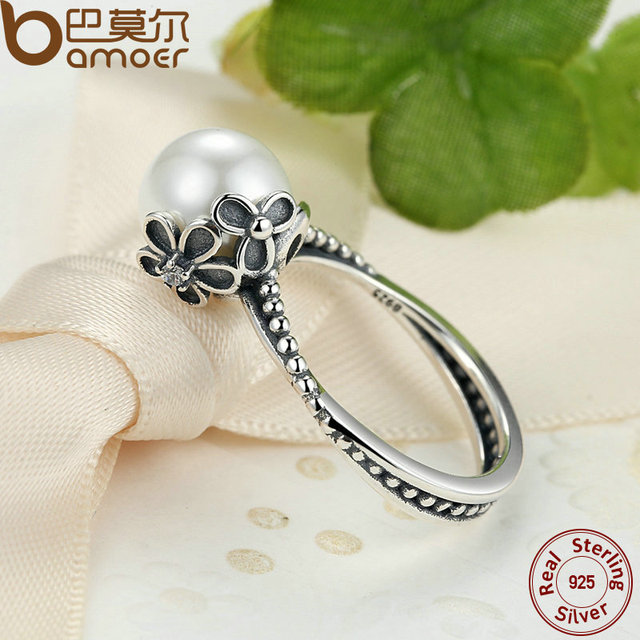 Sterling Silver Female Simulated Pearl Ring