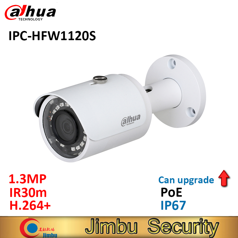 Dahua 1.3MP IR Mini Bullet IP Camera IPC-HFW1120S POE IR30m H.264+ waterproof IP67 English firmware can upgrade cctv camera цена 2017