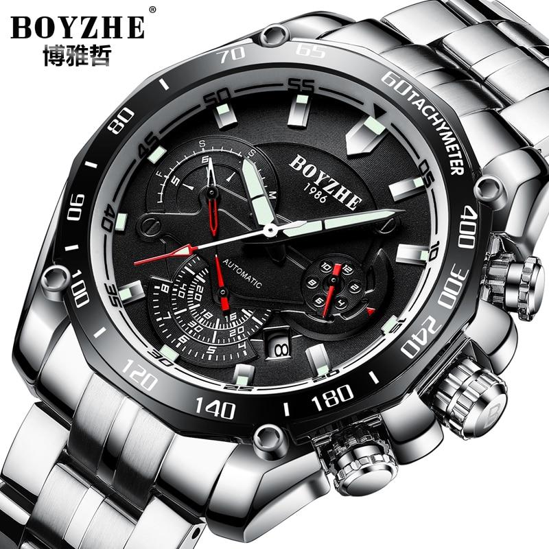 BOYZHE Brand Men Watch Automatic Calenar Fashione Luxury Mechanical Watches Luminous Clock Male Reloj Hombre Relogio Masculino цена и фото