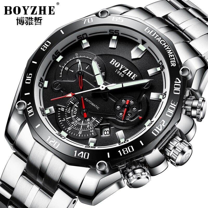BOYZHE ยี่ห้อผู้ชายนาฬิกาอัตโนมัติ Calenar แฟชั่น Luxury Mechanical นาฬิกาส่องสว่างชายนาฬิกา Reloj Hombre Relogio Masculino-ใน นาฬิกาข้อมือกลไก จาก นาฬิกาข้อมือ บน   1
