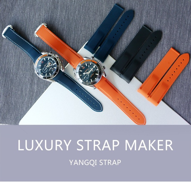20mm 22mm Waterproof Curved End Silicone Rubber Watch Straps no Clasp with for O