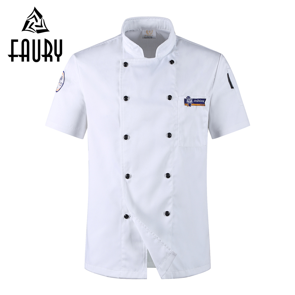 Unisex Cooking Work Wear Coats White Double Breasted Short-sleeved Pocket Restaurant Uniforms Hotel Chef T-shirts Jackets Aprons