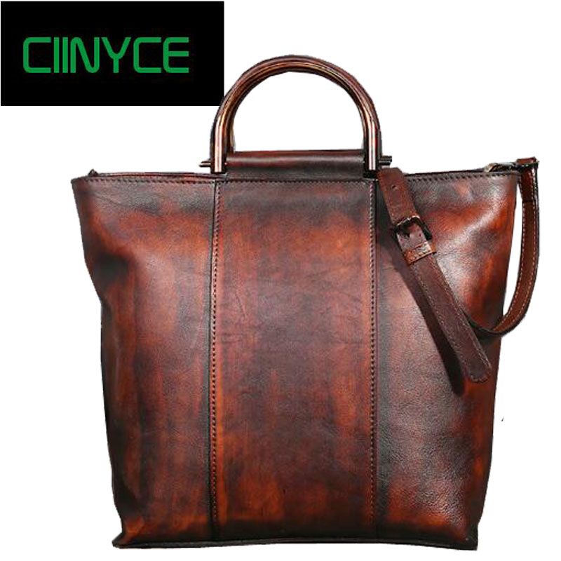 Brand Genuine Leather Woman Handbags Cowhide Totes hand painting Color Women Shoulder Vintage Crossbody Messenger Bags women genuine leather handbags ladies personality new head layer cowhide shoulder messenger bags hand rub color female handbags