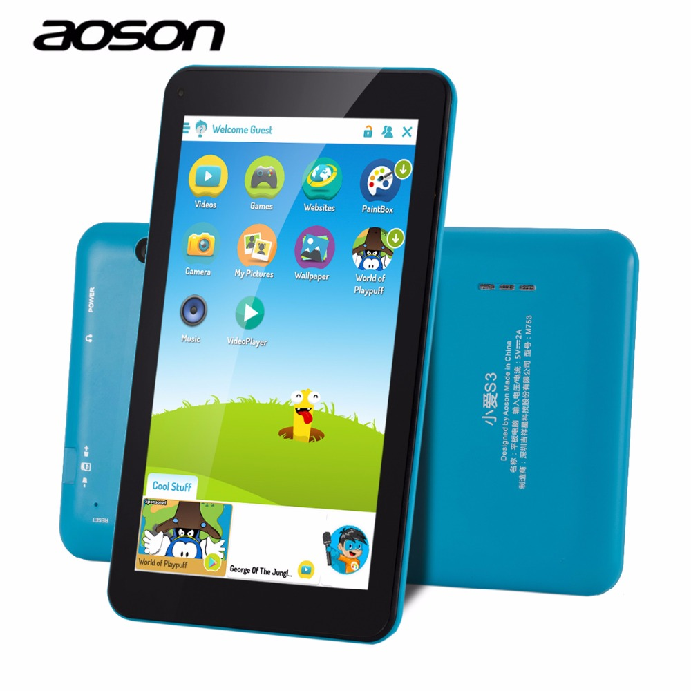 New! AOSON M753 7 Inch kids Tablet PC Android 6.0 Marshmallow Quad-core IPS HD Touch Screen 1GB+16GB Storage blueboot car charger for tablet pc cube u10gt u10gt2 aoson m19 more black dc 9v