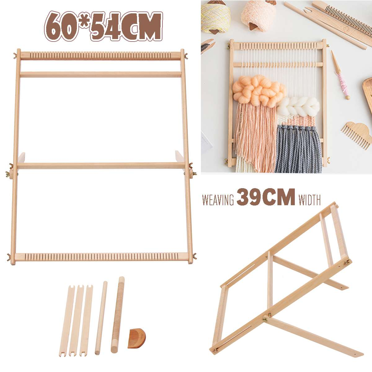 Wooden Weaving Loom Kit Hand-Woven DIY Woven Set Household Tapestry Scarf Multifunctional Loom Sewing Machine
