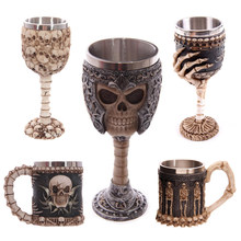 Cool Gothic Resin Rvs Dragon Schedel Beker Retro Klauw Wijn Glas Cocktail Glazen Whiskey Cup Party Bar Drinkware(China)
