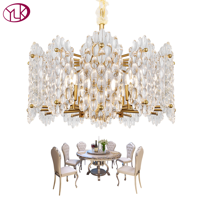 Youlaike Modern Living Room Chandelier Lighting High Quality Gold Light Fixture Round Luxury Crystal Lamp LED Cristal Lustres youlaike luxury modern crystal chandelier for living room foyer hanging gold lighting fixture restaurant led cristal lustres