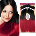 EVET Brazilian Human Hair Straight Wave Two Tone Human Hair 6pcs Ombre Human Hair Extensions Wefts 50g/pcs 6pcs 300g Full head