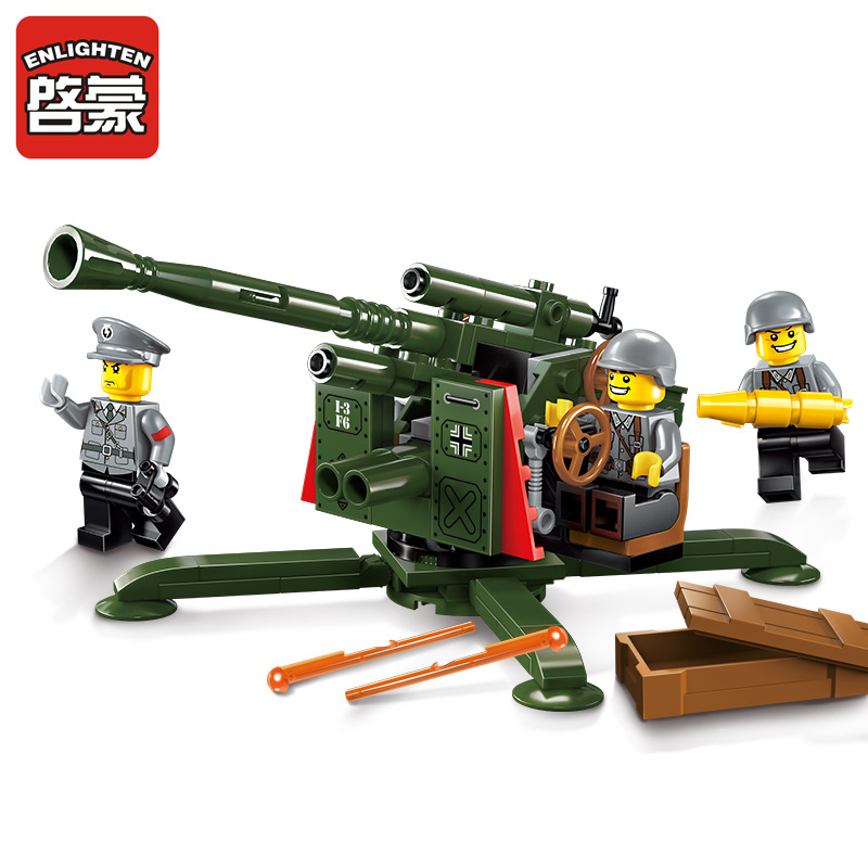 ENLIGHTEN 124Pcs Military Series WWII High Ground Anti Aircraft Gun Model Building Blocks Action Figure Bricks Toys For Children enlighten building blocks navy frigate ship assembling building blocks military series blocks girls