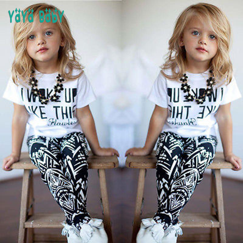 все цены на 1 2 3 4 5 5 6 7 8 Year Girls Clothes 2018 New Spring Summer Children Clothing Set Letter Printed Shirts Pants 2pcs Kids Suits