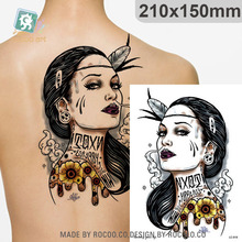 Body Art Waterproof Temporary Tatoo For Men And Women Head Portrait Sketch Arm Pattern Large Arm Flash Tattoo Sticker LC2818