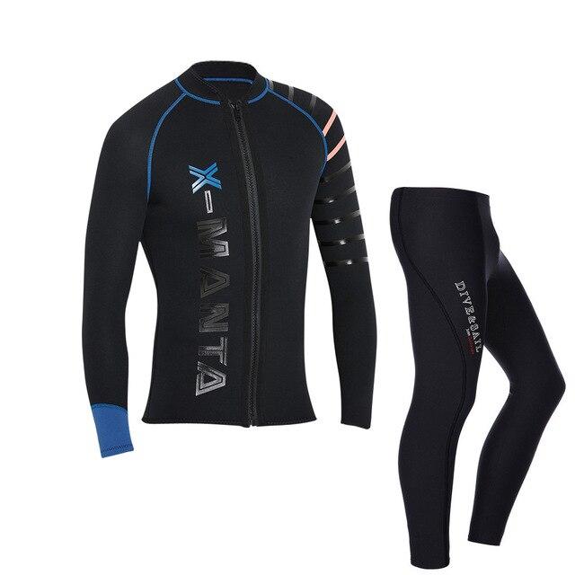 Mergulho & vela genuíno 3mm neoprene wetsuit jaquetas calças de manga longa corpo próximo mergulho terno para homem