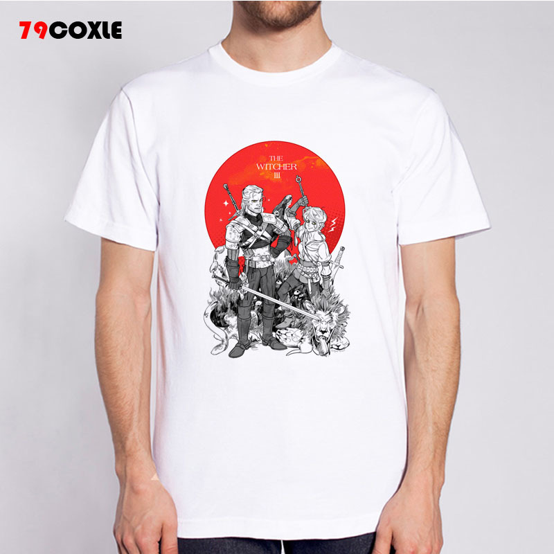 The Witcher T Shirts Men Funny Design Short Sleeve O Neck
