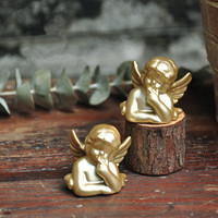 2 PCS Resina Vaso de Plantas Carnudas Com Mini Gold Angel Enfeites Enfeites de Cerâmica Presentes Bonitinho M1870