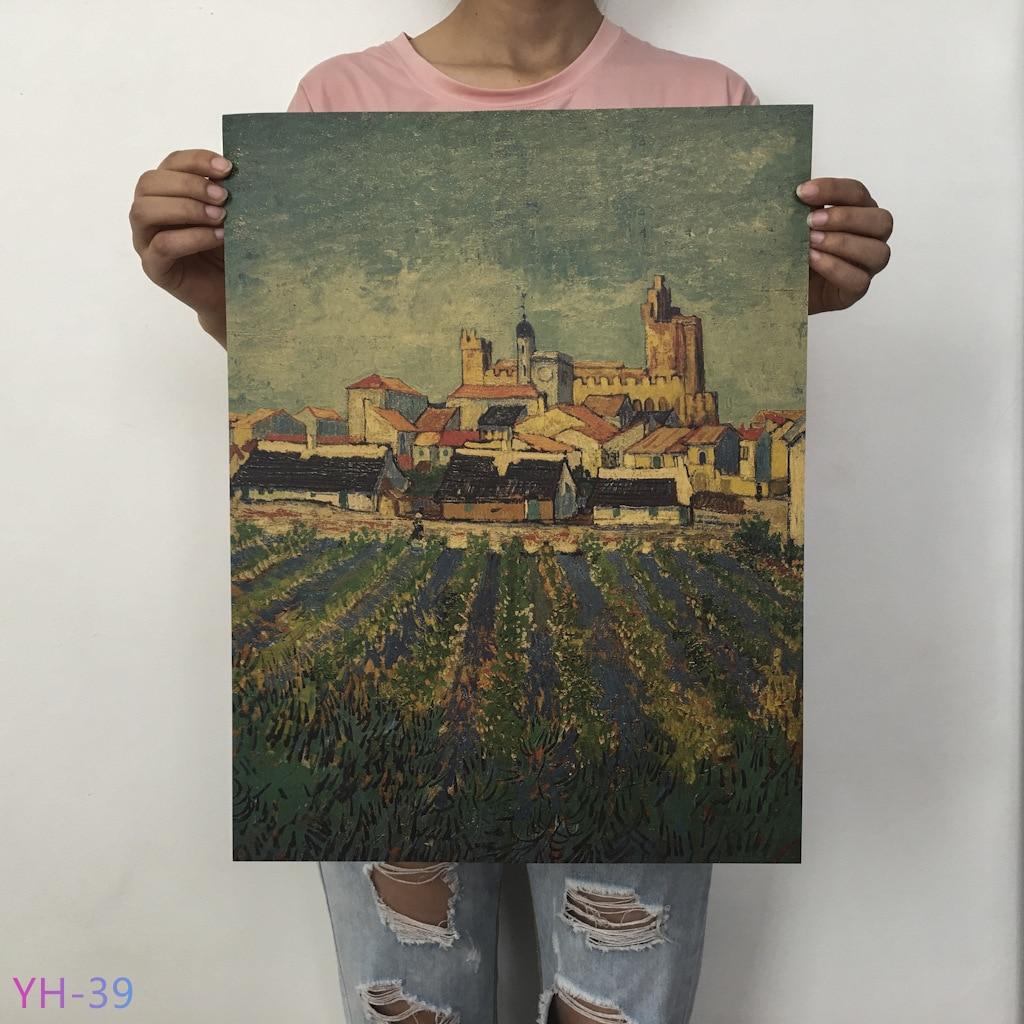 HTB1EsXOXV67gK0jSZPfq6yhhFXaB New Van Gogh Monet oil Poster vintage Classic Kraft Paper Poster Painting Wall Stickers Home Decorative YH-31-42