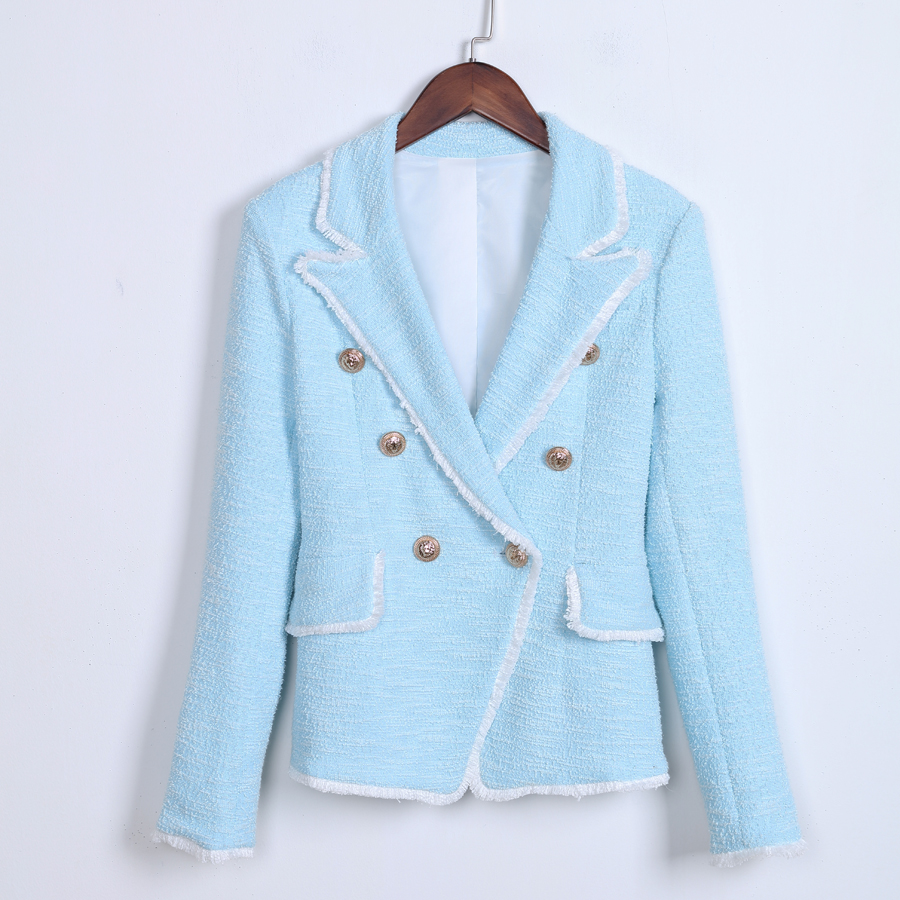 HIGH STREET New Fashion 2018 Designer Blazer Womens Double Breasted Lion Buttons Tassel Fringe Tweed Blazer Jacket