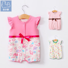 YiErYing Baby Girl Clothes Summer Cotton Baby Rompers Roupas Bebes Printing Baby Girls Dress Newborn Infant Jumpsuits недорого