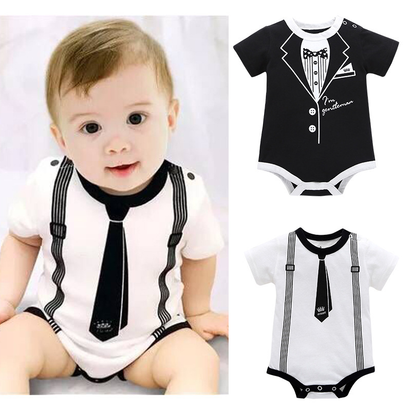 Newborn Baby Clothing Summer Gentleman Rompers 0 12M Infnat Boys Cotton Jumpsuit Male Bebe Body Clothes Tie Print Short Sleeve