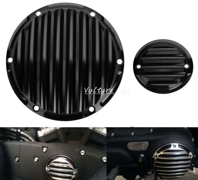 New Black  CNC Deep Cut Derby Timing Timer Covers For Harley Sportster 883 1200 XL cnc deep cut black beveled windshield