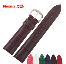 12 14 16 18 20 22mm Genuine Leather WatchBand Purple Stitched Water proof Bracelet Stainless Steel Buckle Clasp Free Shipping