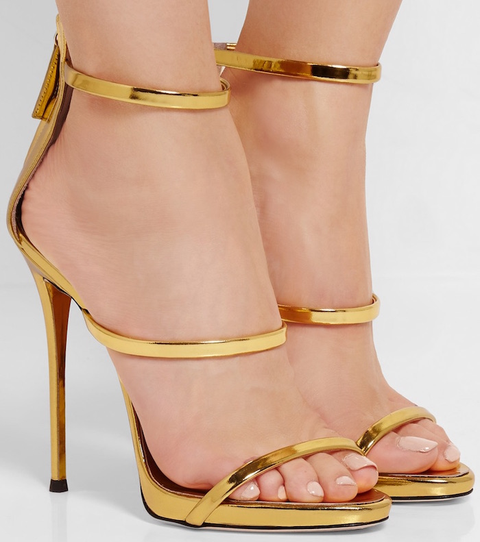 ФОТО New Arrival Golden Genuine Leather Cut-Outs Ankle Strap High Heel Sandals 2017 Summer Thin Heel Sexy Dress Sandal