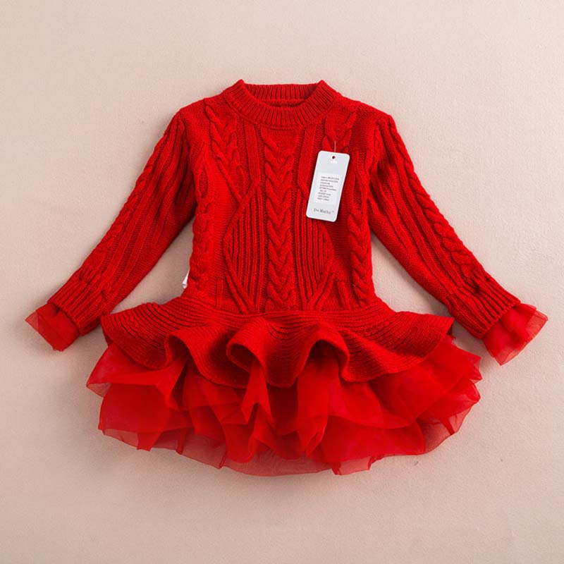 2016 New Baby Girls Christmas sweater Dress Costume children warm winter Dresses Xmas Red color toddler girls Clothing 2-6y