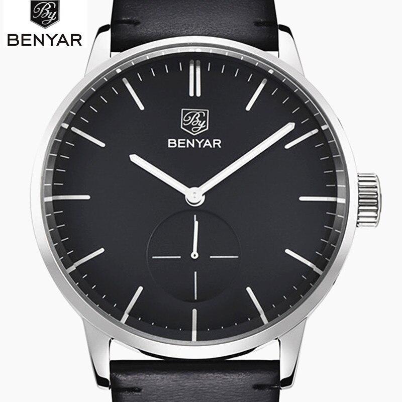 Benyar 2019 Top Marca de Luxo Homens Esportes Relógios dos homens Relógio de Quartzo Homem De Couro Militar Do Exército Relógio de Pulso Relogio masculino